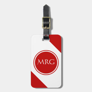 Red and White Diagonal Stripes Tags For Bags