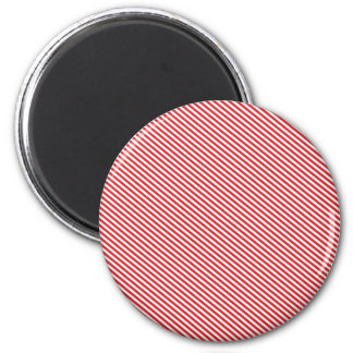 Red and White Diagonal Stripes Fridge Magnet