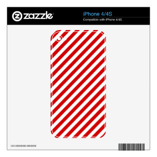 Red and White Diagonal Stripes Pattern iPhone 4S Decal