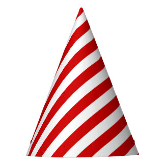 Red and White Diagonal Stripes Pattern Party Hat