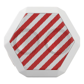 Red and White Diagonal Stripes Pattern White Bluetooth Speaker