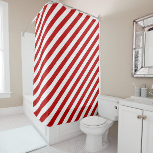 Red And White Diagonal Stripes Shower Curtain