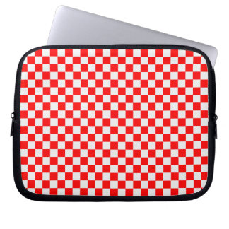Red And White Diamond-Checkerboard Computer Sleeve