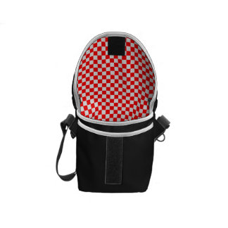 Red And White Diamond-Checkerboard Messenger Bag