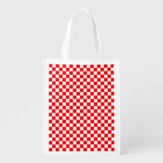 Red And White Diamond-Checkerboard Reusable Grocery Bags