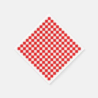Red And White Diamond-Checkerboard Paper Napkins