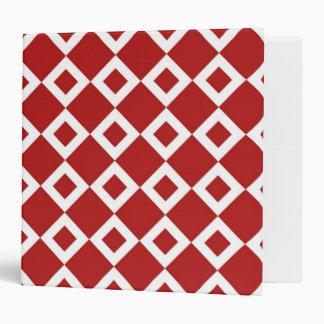 Red and White Diamond Pattern 3 Ring Binder