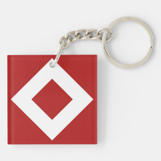 Red and White Diamond Pattern Acrylic Key Chain