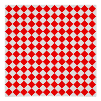 Red And White Diamond Pattern by Shirley Taylor Poster