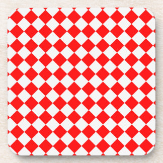 Red And White Diamond Pattern by ShirleyTaylor Drink Coaster