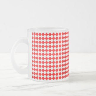 Red And White Diamond Pattern by ShirleyTaylor Frosted Glass Coffee Mug