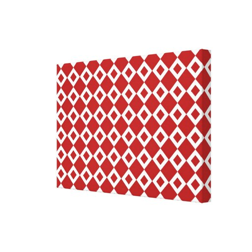Red and White Diamond Pattern Canvas Print