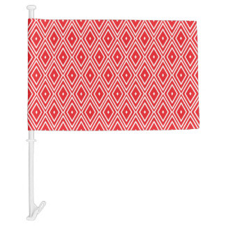 Red and White Diamond Pattern Car Flag