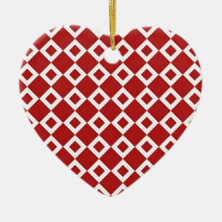 Red and White Diamond Pattern Ceramic Ornament