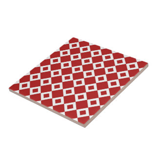 Red and White Diamond Pattern Ceramic Tile
