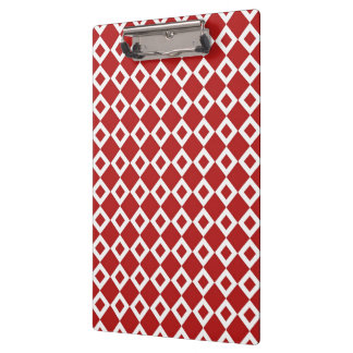 Red and White Diamond Pattern Clipboard
