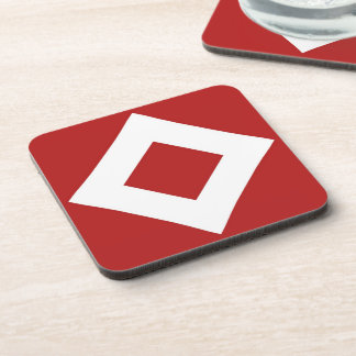Red and White Diamond Pattern Coasters