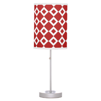 Red and White Diamond Pattern Desk Lamp