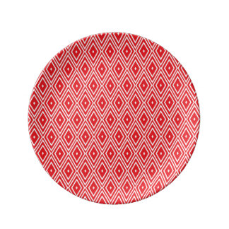Red and White Diamond Pattern Dinner Plate
