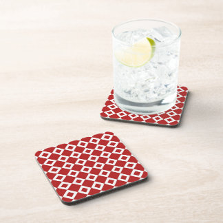 Red and White Diamond Pattern Drink Coaster