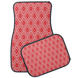 Red and White Diamond Pattern Floor Mat
