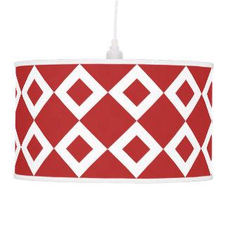 Red and White Diamond Pattern Hanging Lamp