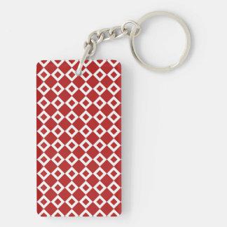 Red and White Diamond Pattern Keychain