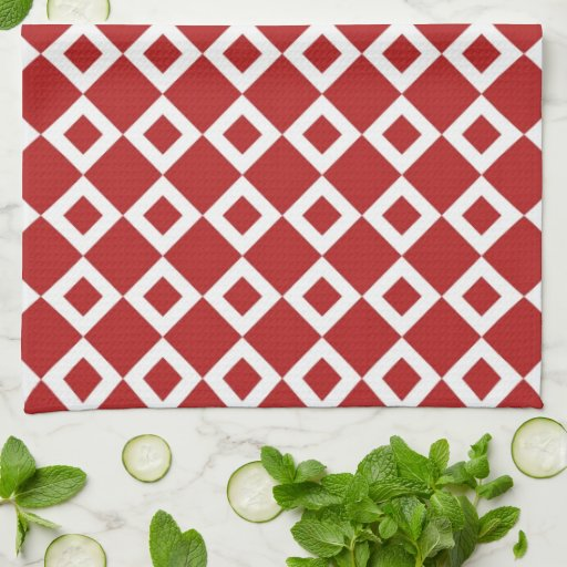 Red and White Diamond Pattern Kitchen Towels
