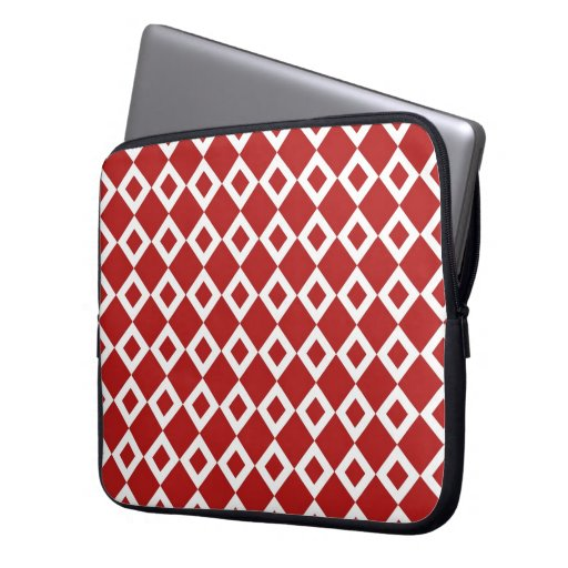Red and White Diamond Pattern Laptop Computer Sleeve