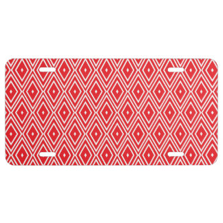 Red and White Diamond Pattern License Plate