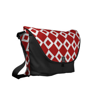 Red and White Diamond Pattern Messenger Bag