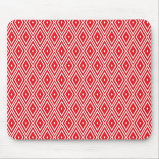 Red and White Diamond Pattern Mouse Pad