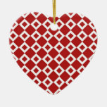 Red and White Diamond Pattern Ornaments
