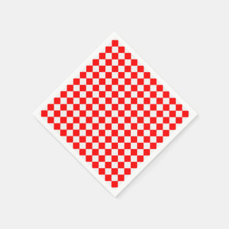 Red And White Diamond Pattern Paper Napkins