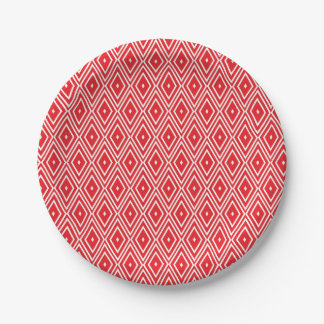 Red and White Diamond Pattern Paper Plate