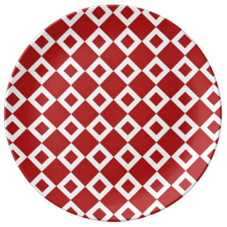 Red and White Diamond Pattern Porcelain Plate
