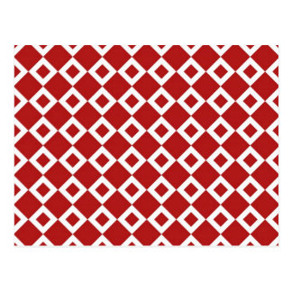 Red and White Diamond Pattern Postcard