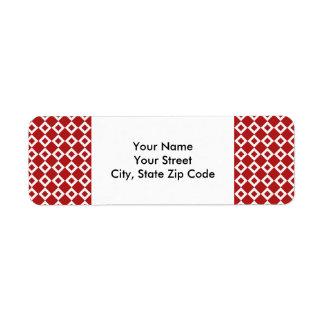 Red and White Diamond Pattern return address label