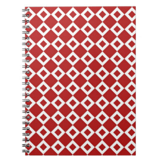 Red and White Diamond Pattern Spiral Notebook