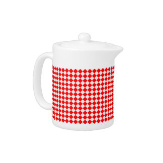 Red And White Diamond Pattern Teapot