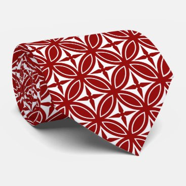 Professional Business Red and White Diamond Pattern Tie