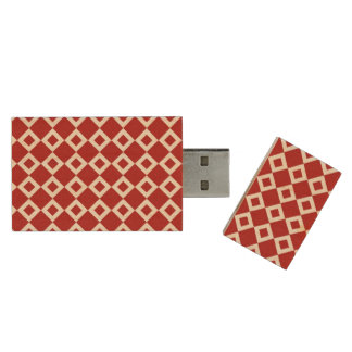 Red and White Diamond Pattern Wood USB Flash Drive