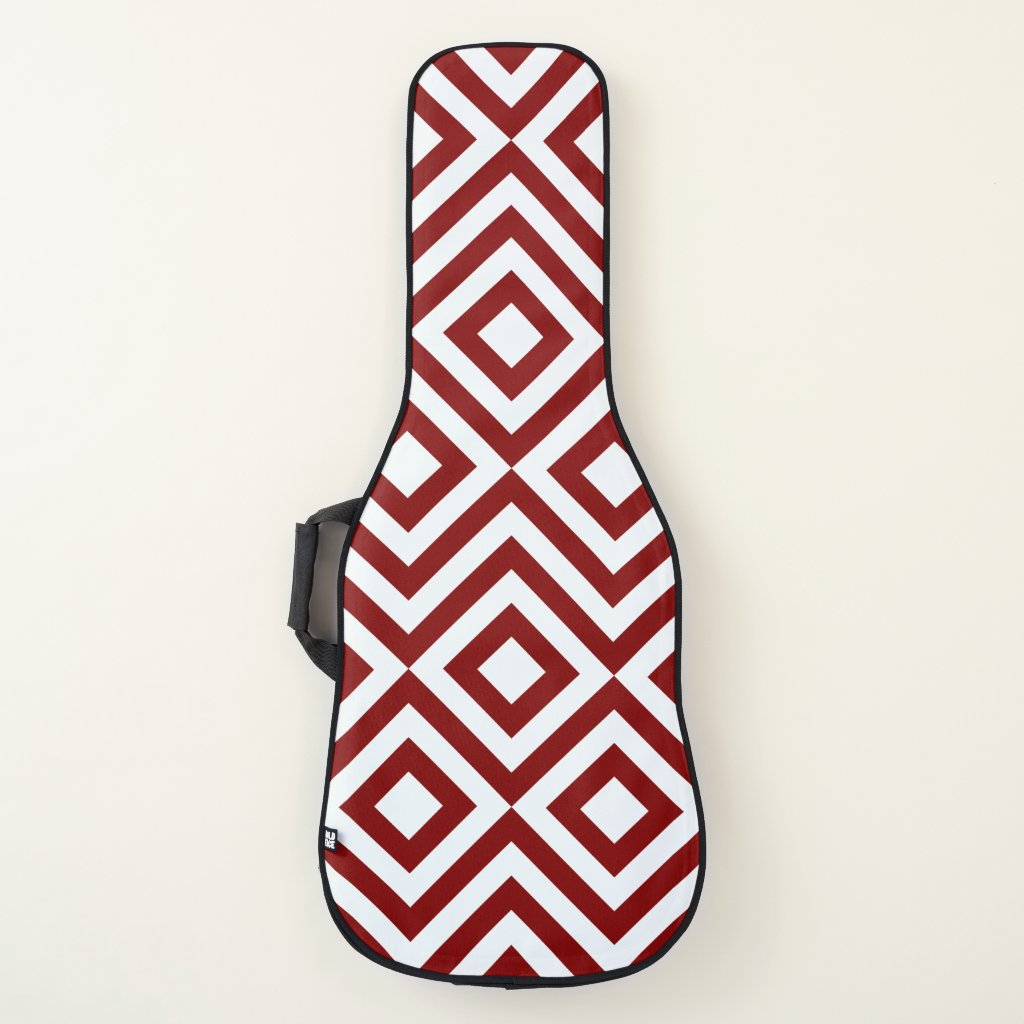 Red and White Diamonds and Zigzags Guitar Case