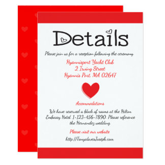 Red And White Directions / Details Hearts Wedding Card