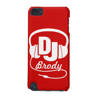 Red and white DJ name headphones iPod Touch 5G Case