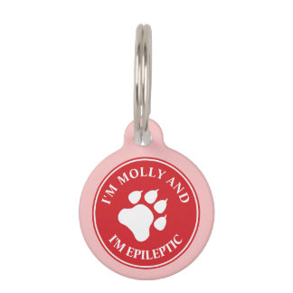 Red And White Dog Paw With Epileptic Text Pet Tag