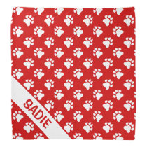 Red And White Dog Paws With Name Bandana