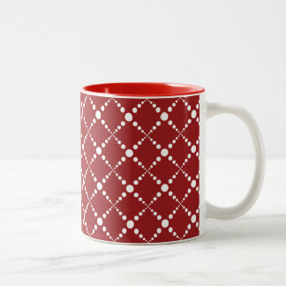 Red and White Dots Two-Tone Coffee Mug