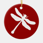 Red and White Dragonfly Double-Sided Ceramic Round Christmas Ornament
