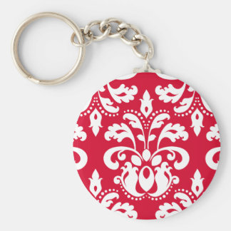 Red and white elegant Christmas damask Basic Round Button Keychain
